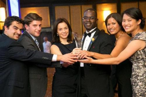 Pictured, from left to right, are Amir Khan, Nick Mascioli, Nina Marini - MBA '99 and co-founder of Ashesi University, Patrick Awuah, Melissa Rawlins and Flora Kuo