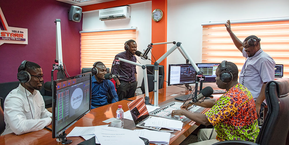Ashesi alumnus David, sits in as a producer on the Starr FM Morning Show