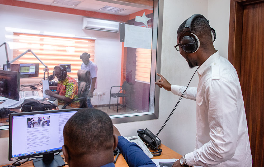 Ashesi alumnus David Dei-Awuku, at Starr FM studio